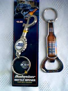 Budweiser Advertising Collectibles - Keyring and Bottle Opener