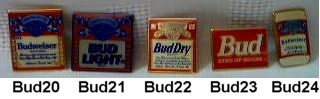 Budweiser Advertising Collectibles - Bud, Budweiser, Bud Light, Bud Dry, Michelob, Busch, Anheuser Busch Metal Enamel Lapel Pinback Pins Tie Tacks