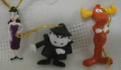 Rocky & Bullwinkle Collectibles - Bullwinkle, Boris, Natasha small Christmas Ornaments